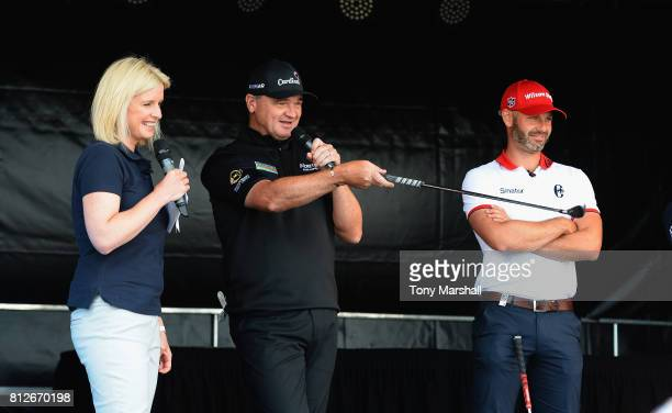 Sarah Stirk of Sky TV Paul Lawrie of Scotland and Paul Waring of England at the RSM Junior Golf Event during the AAM Scottish Open ProAm at Dundonald...
