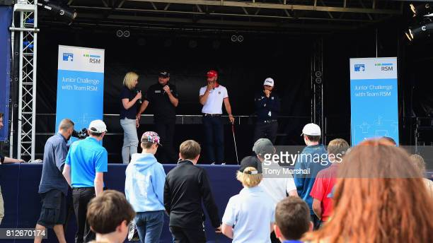 Sarah Stirk of Sky TV Paul Lawrie of Scotland Andy Sullivan of England and Paul Waring of England at the RSM Junior Golf Event during the AAM...