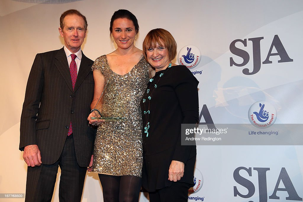 Sarah Storey of England (centre) receives the Bill McGowran Award from Richard Meade (left) and Tessa Jowell during the SJA 2012 British Sports Awards at The Pavilion at the Tower of London on December 6, 2012 in London, England.
