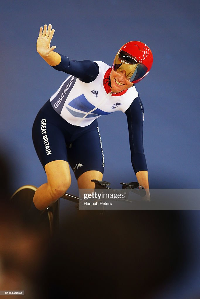 Sarah Storey of Great Britain celebrates after winning the Women's Individual C5 Pursuit Cycling on day 1 of the London 2012 Paralympic Games at Velodrome on August 30, 2012 in London, England.