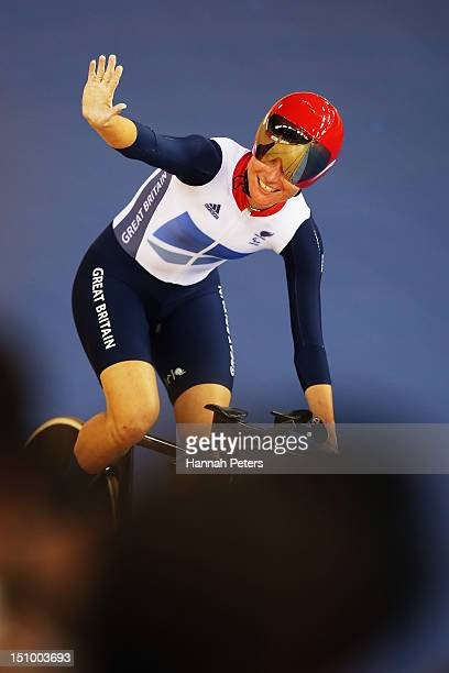 Sarah Storey of Great Britain celebrates after winning the Women's Individual C5 Pursuit Cycling on day 1 of the London 2012 Paralympic Games at...
