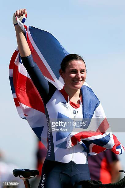 Sarah Storey of Great Britain celebrates winning the Women's Individual Time Trial C5 on day 7 of the London 2012 Paralympic Games at Brands Hatch on...