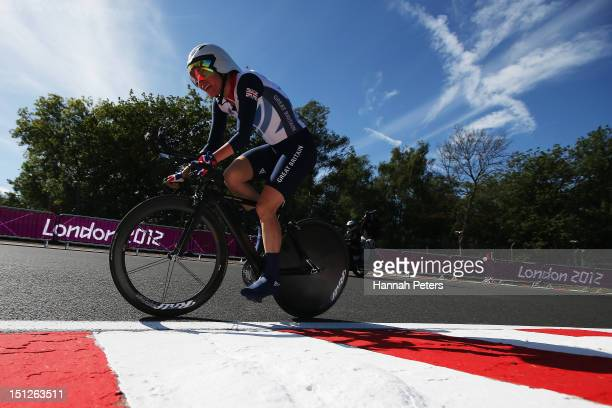Sarah Storey of Great Britain competes in the Women's Individual Time Trial C5 on on day 7 of the London 2012 Paralympic Games at Brands Hatch on...