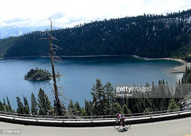 Sarah Storey of Great Britain leads as she passes Emerald Bay during stage one of the 2015 Amgen Tour of California women's on May 8, 2015 in South...