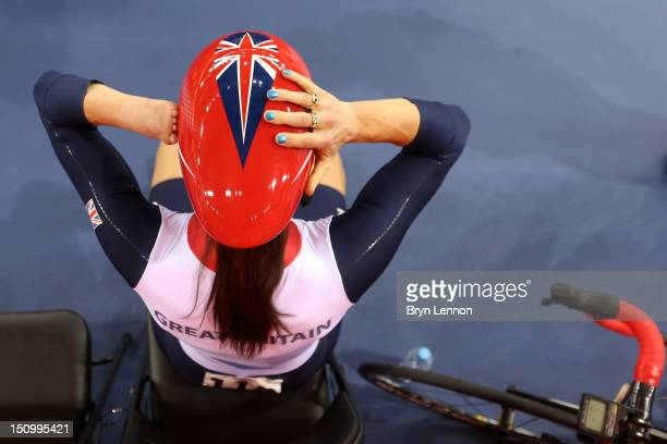 Sarah Storey of Great Britain prepares prior to the Women's Individual C5 Pursuit Cycling qualifying on day 1 of the London 2012 Paralympic Games at...