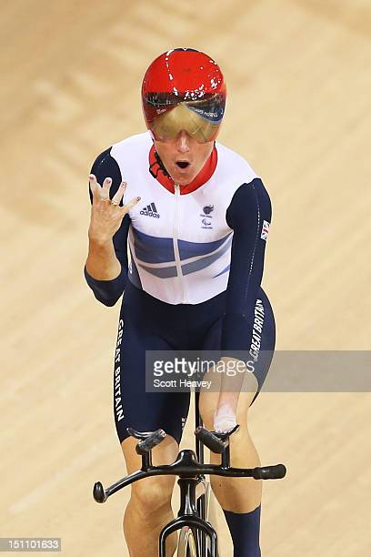Sarah Storey of Great Britain wins gold in the Women's Individual C45 500m Time Trial Final on day 3 of the London 2012 Paralympic Games at Velodrome...