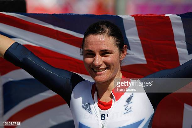 Sarah Storey of Greath Britain celebrates after winning Gold in the Women's Individual C 5 Time Trial on day 7 of the London 2012 Paralympic Games at...
