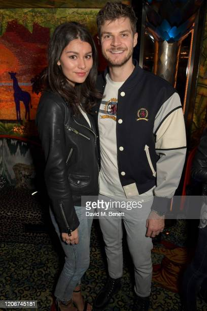 Sarah Tarleton and Jim Chapman attend the TOMMYNOW after party at Annabels on February 16 2020 in London England