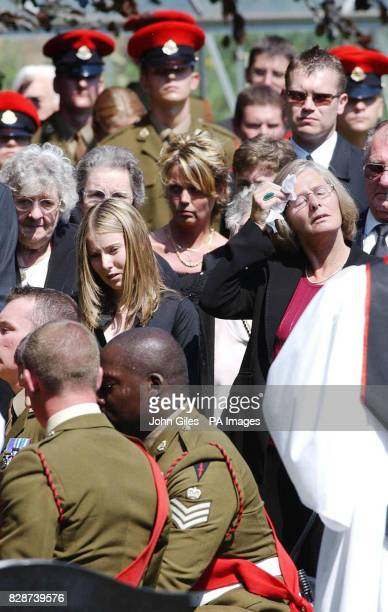 Sarah Tash the girlfriend of Lance Corporal Ben Hyde and his mother Sandra at his funeral in Northallerton Thousands lined the street for the funeral...