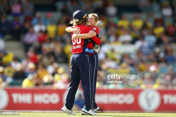 Sarah Taylor and Katherine Brunt of England celebrtaes a wicket during the second Women's Twenty20 match between Australia and England at Manuka Oval...