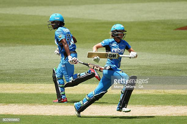 Sarah Taylor and StacyAnn King of the Adelaide Strikers runs between the wickets during the Women's Big Bash League match between the Adelaide...