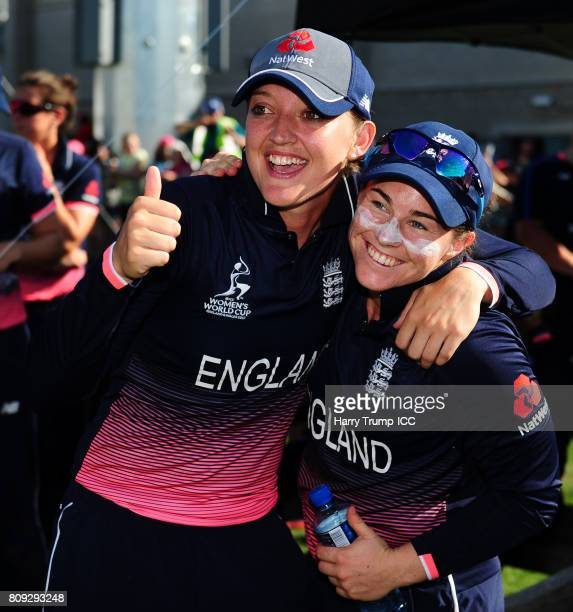 Sarah Taylor and Tammy Beaumont of England share a laugh after victory in which they shared a 275 run partnership together during the ICC Women's...