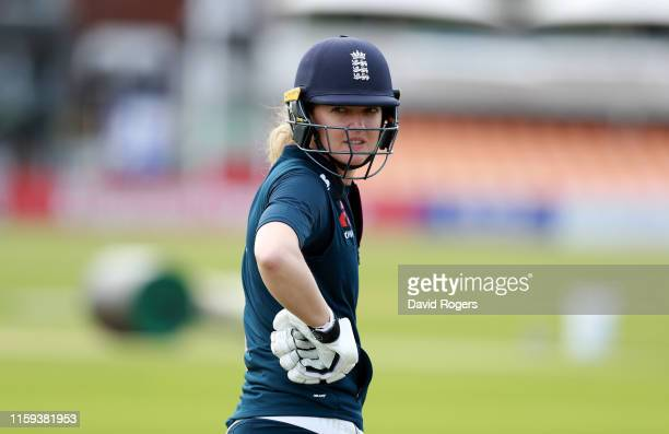 Sarah Taylor looks on during the England nets practice at Fischer County Ground on July 01 2019 in Leicester England