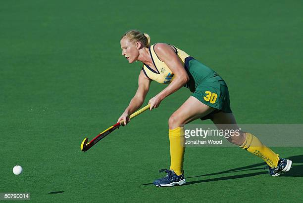 Sarah Taylor of Australia in action during the International Women's Test Series Hockey match betweeen Australia and India played at Ballinger Park...