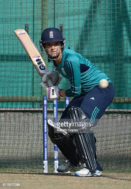 Sarah Taylor of England bats during a net session at Feroz Shah Kotla Stadium on March 29 2016 in Delhi India
