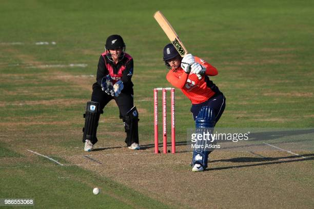 Sarah Taylor of England bats during England Women vs New Zealand Women International T20 TriSeries at The Brightside Ground on June 28 2018 in...