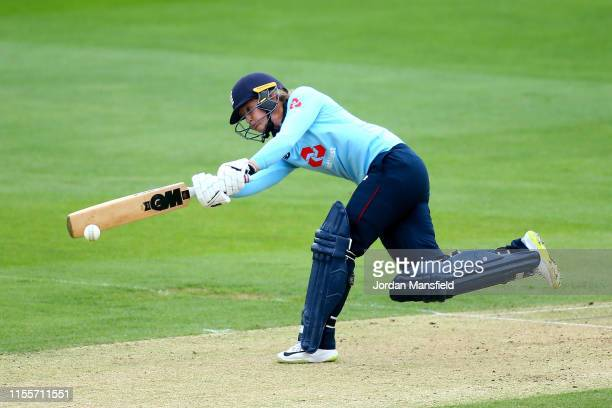 Sarah Taylor of England bats during the 3rd One Day International match between England Women and West Indies Women at the Cloudfm County Ground on...