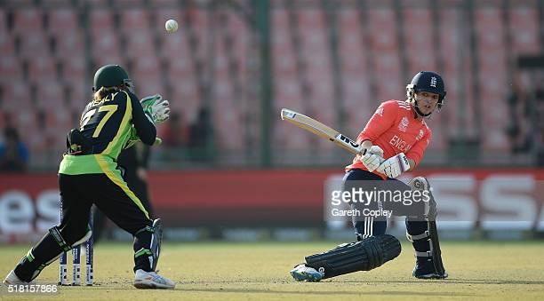 Sarah Taylor of England bats during the Women's ICC World Twenty20 India 2016 Semi Final between England and Australia at Feroz Shah Kotla Ground on...