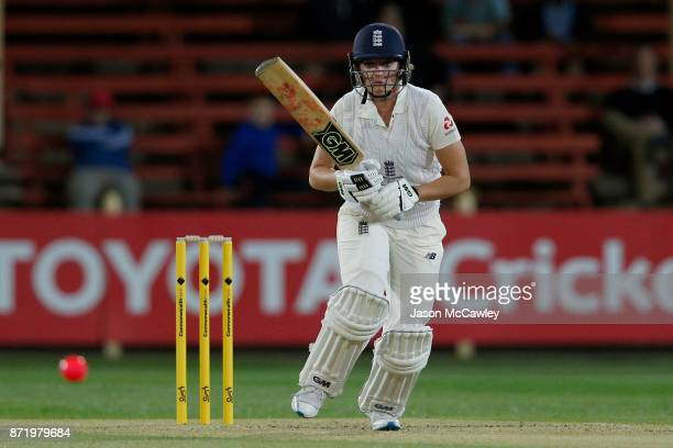 Sarah Taylor of England bats during the Women's Test match between Australia and England at North Sydney Oval on November 9 2017 in Sydney Australia