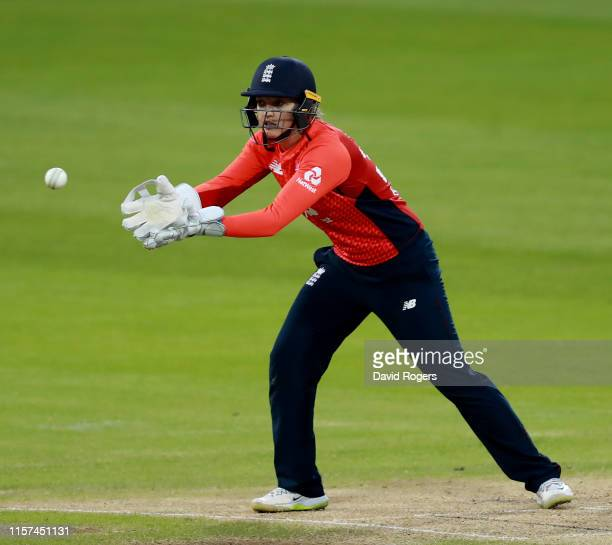 Sarah Taylor of England catches the ball during the 2nd Vitality Women's IT20 match between England and the West Indies at The County Ground on June...