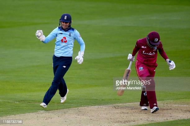 Sarah Taylor of England celebrates dismissing Kycia Knight of West Indies during the 3rd One Day International match between England Women and West...