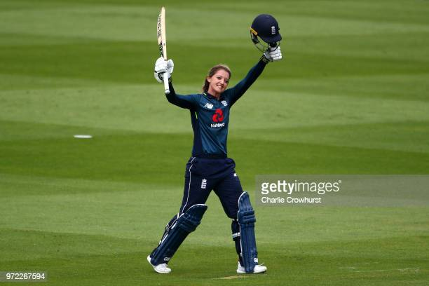 Sarah Taylor of England celebrates her century during the ICC Women's Championship 2nd ODI match between England Women and South Africa Women at The...
