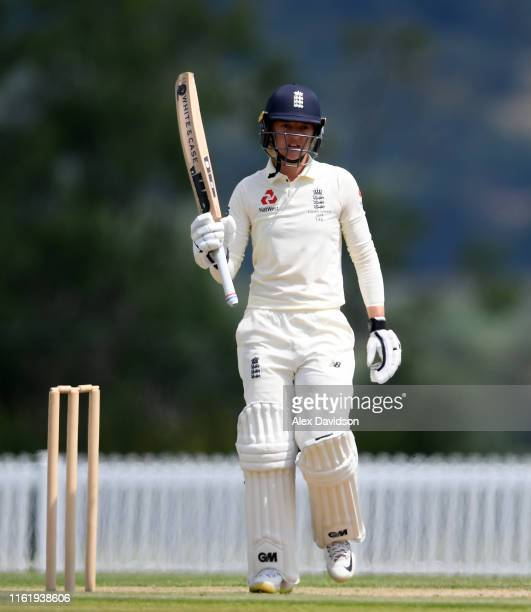 Sarah Taylor of England celebrates reaching her fifty during Day Three of the International Friendly match between England Women and Australia A...