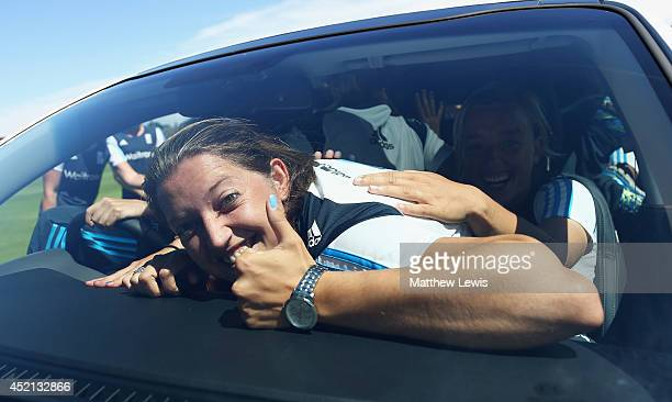 Sarah Taylor of England celebrates the new Kia motor car sponsorship deal for the England Womens Cricket team at the ECB National Performance Centre...