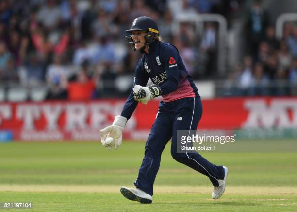 Sarah Taylor of England celebrates the wicket of Mithali Raj of India during the ICC Women's World Cup 2017 Final between England and India at Lord's...