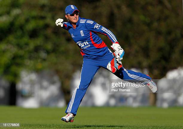 Sarah Taylor of England fields the ball during the friendly T20 cricket match between England and England Academy at Loughborough University on...