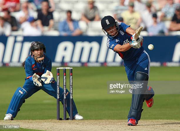 Sarah Taylor of England hits out during the NatWest International T20 match between England and India at Ford County Ground on June 28 2012 in...