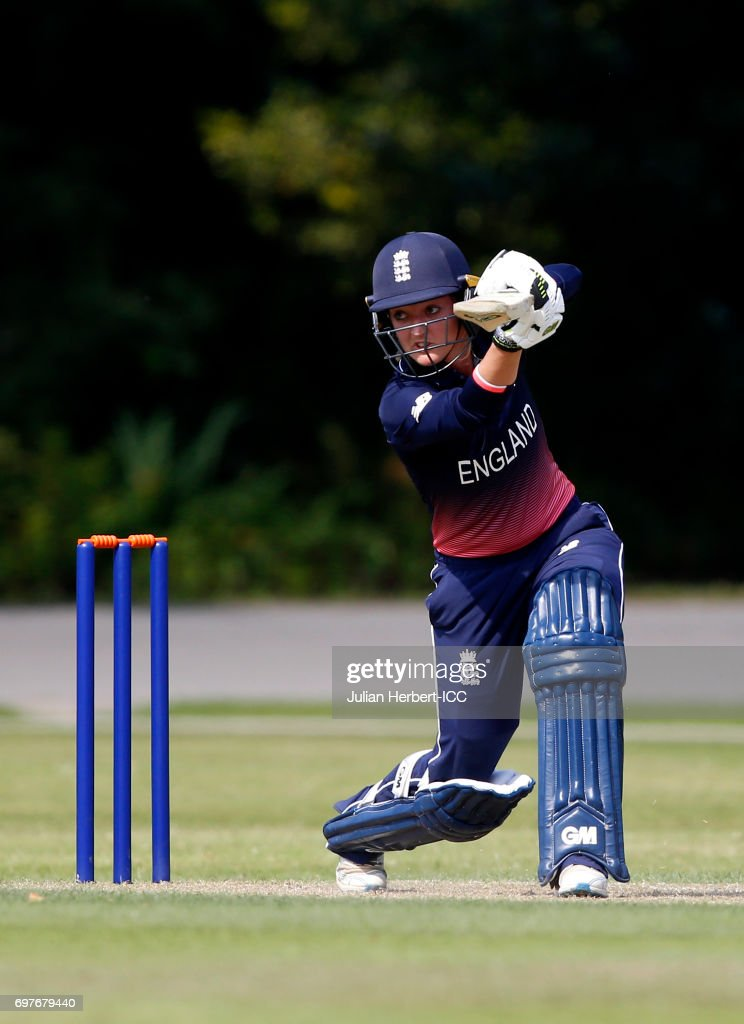 Sarah Taylor of England in action during The ICC Women's World Cup warm up match between England and Sri Lanka at Queens Park on June 19, 2017 in Chesterfield, England.