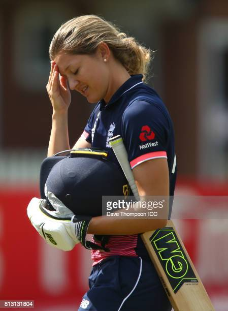 Sarah Taylor of England leaves the field after being caught and bowled by Leigh Kasperek of New Zealand during the ICC Women's World Cup match...