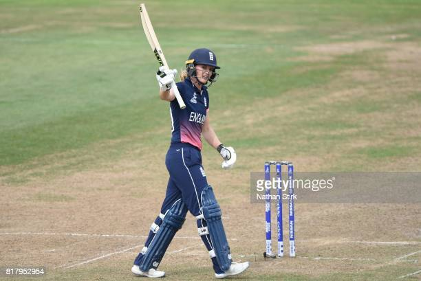Sarah Taylor of England raises her bat after scoring 50 runs during the SemiFinal ICC Women's World Cup 2017 match between England and South Africa...