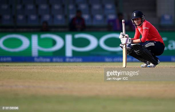 Sarah Taylor of England takes a moment after being struck during the Women's ICC World Twenty20 India 2016 Semi Final match between England and...