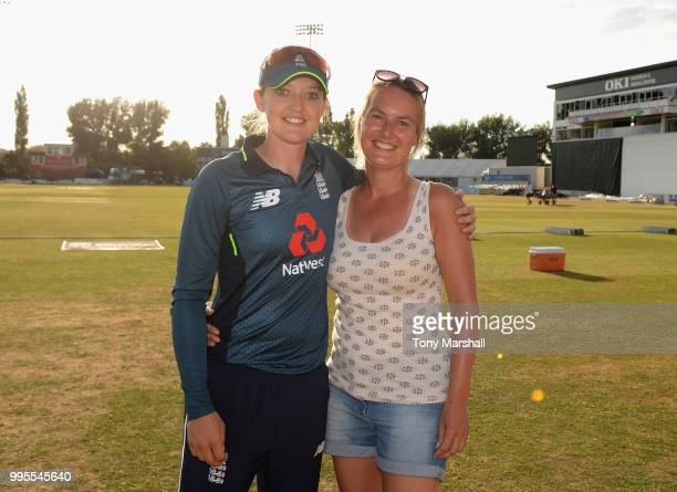 Sarah Taylor of England Women poses with Jane Smit during the 2nd ODI ICC Women's Championship between England Women and New Zealand Women at The...