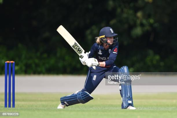 Sarah Taylor of England Women's in action during the ICC women's world cup warm up match between England Women's and Sri Lanka on June 19 2017 in...