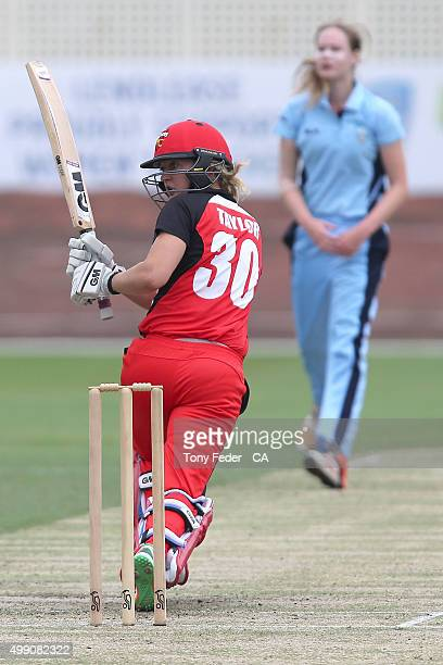 Sarah Taylor of SA Scorpions plays a shot during the WNCL Final match between the New South Wales and South Australia at Hurstville Oval on November...