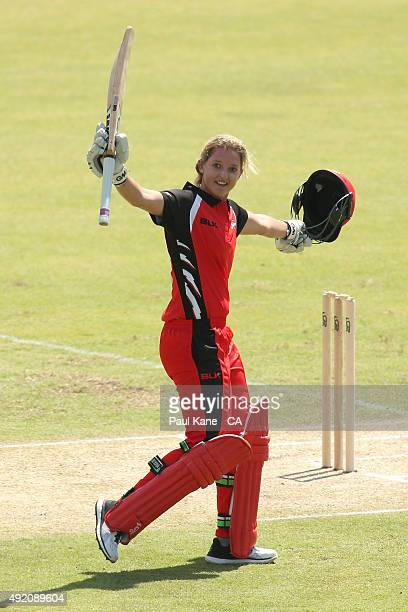 Sarah Taylor of South Australia celerbrates her century during the round one WNCL match between New South Wales and South Australia at WACA on...