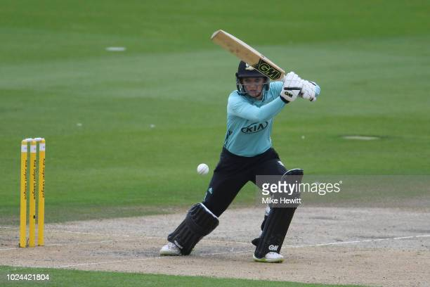 Sarah Taylor of Surrey hits out during the semifinal between Western Storm and Surrey Stars on Finals Day Kia Super League 2018 at The 1st Central...