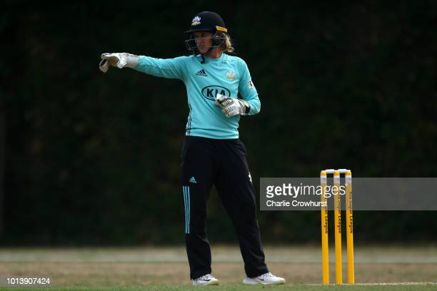 Sarah Taylor of Surrey organises the field during the Kia Super League match between Surrey Stars and Loughborough Lightning at The Sports Ground on...