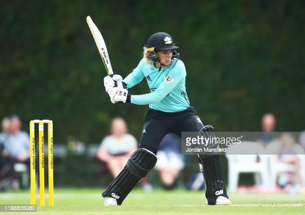 Sarah Taylor of Surrey Stars bats during the Kia Super League match between Surrey Stars and Lancashire Thunder on August 08, 2019 in Guildford,...