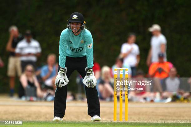 Sarah Taylor of Surrey Stars in action during the Kia Super League match between Surrey Stars and Southern Vipers on July 22, 2018 in Guildford,...