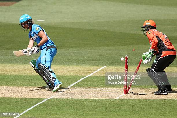 Sarah Taylor of the Adelaide Strikers is bowled out after attempting a ramp shot during the Women's Big Bash League match between the Adelaide...