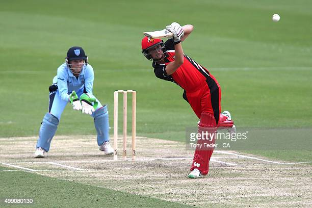 Sarah Taylor of the SA Scorpions plays a shot during the WNCL Final match between the New South Wales and South Australia at Hurstville Oval on...