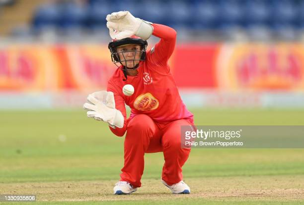 Sarah Taylor of Welsh Fire catches the ball during The Hundred match between Welsh Fire and Southern Brave at Sophia Gardens on July 27, 2021 in...