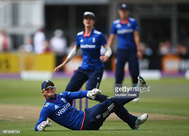 Sarah Taylor the wicketkeeper of England during the 2nd Royal London ODI of the Women's Ashes Series between England and Australia Women at The...