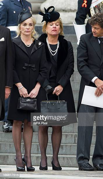 Sarah Thatcher Carol Thatcher and Marco Grass attend the Ceremonial funeral of former British Prime Minister Baroness Thatcher St Paul's Cathedral on...