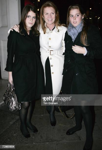 Sarah, the Duchess of York, and daughters Princess Beatrice and Princess Eugenie attend the Aldwych Theatre to see 'Dirty Dancing' on December 21,...