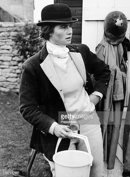 Sarah the sister of Lieutenant Mark Phillips at work in the family stables at their farm in Great Somerford on 15th January 1973